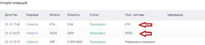 Подтверждение зачисления средств в аккаунте биржи EXMO