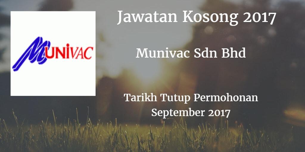 Jawatan Kosong Munivac Sdn Bhd September 2017