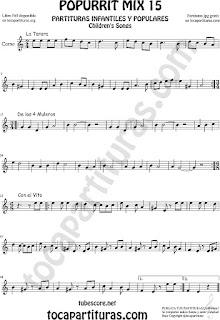 Partitura de Corno Inglés Popurrí 15 La Tarara, De los 4 Muleros y Con el Vito Sheet Music for English Horn Music Scores