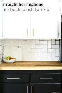 Straight Herringbone Tile Backsplash Tutorial Create Enjoy