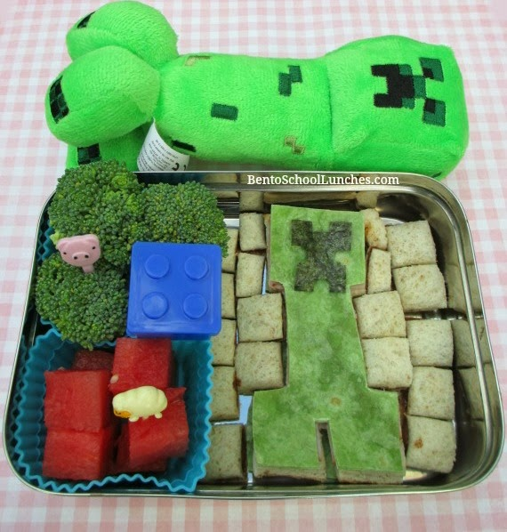 Minecraft creeper lunch box, bento school lunches