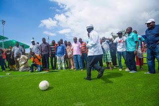 Raila Odinga opens the Uwanja wa Mbuzi stadium in Kongowea. PHOTO | BANA