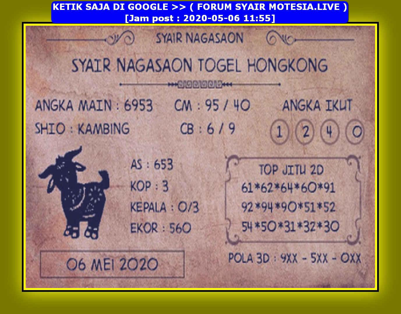 Kode syair Hongkong Rabu 6 Mei 2020 146