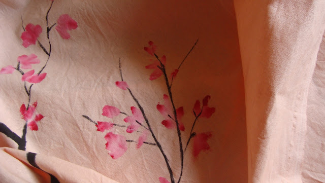 fabric painting, painted bed sheet