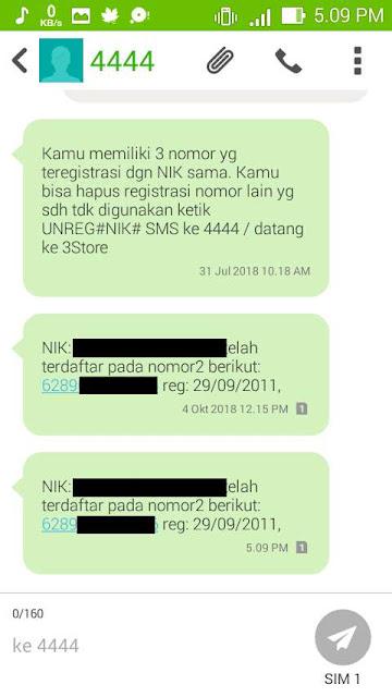 Pada sms yang masuk, tertulis NIK kalian terdaftar di nomor yang mana saja
