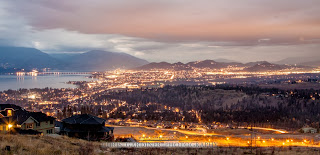 Scenic view of Kelowna near dusk when the city glows from light pollution in a beautiful way captured by Chris Gardiner Professional Scenic Photography www.cgardiner.ca