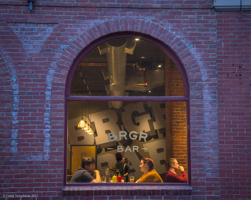 Portland, Maine USA March 2017 photo by Corey Templeton. Passing by the newly opened BRGR BAR (Portland, ME) at 11 Brown Street.
