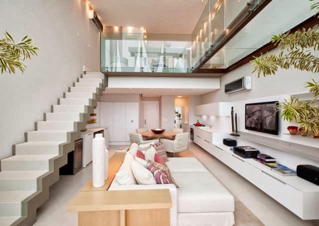 Construindo minha casa clean salas de estar e de tv for Sala de estar rustica y moderna