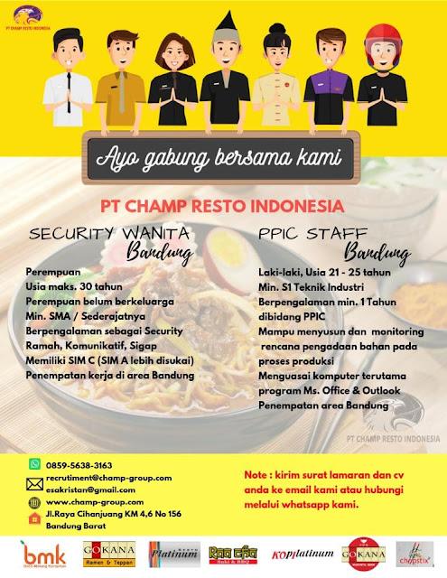 Lowongan PT. Champ Resto Indonesia