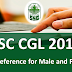 SSC CGL 2018 Post Preference: Male | Female