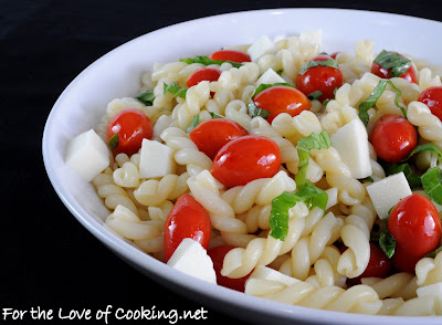 Caprese Pasta Salad with a White Balsamic Vinaigrette