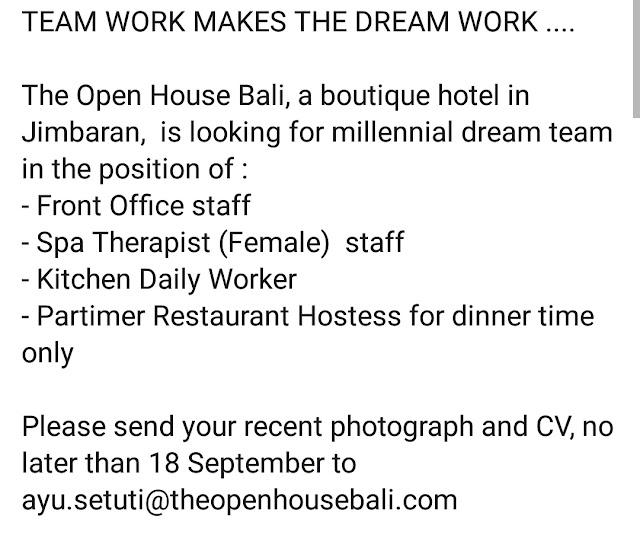 Lowongan kerja Hotel The Open House Bali September 2018