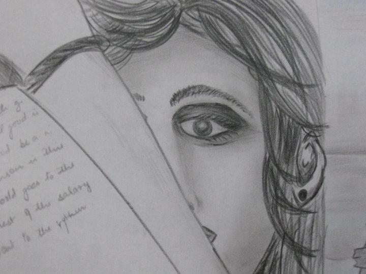 Pencil sketches sad girl