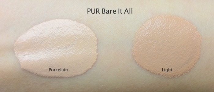 PUR cosmetics Bare It All foundation porcelain light swatches