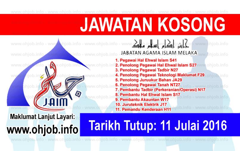Jawatan Kerja Kosong Majlis Agama Islam Melaka (MAIM) logo wwww.ohjob.info julai 2016