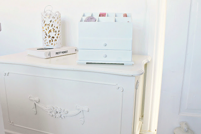 Girly shabby chic makeup storage and beauty product organisation ideas