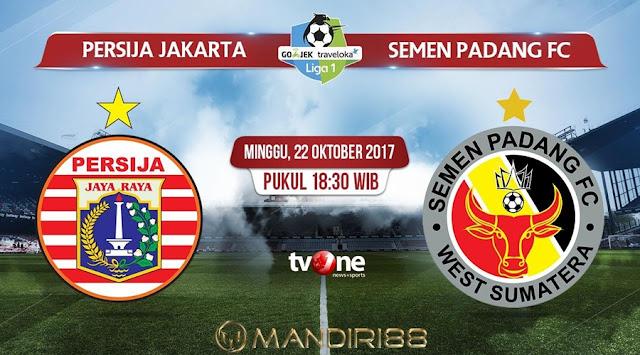 Persija Jakarta menjamu Semen Padang pada laga pekan ke Berita Terhangat Prediksi Bola : Persija Jakarta Vs Semen Padang , Minggu 22 Oktober 2017 Pukul 18.30 WIB @ TVONE