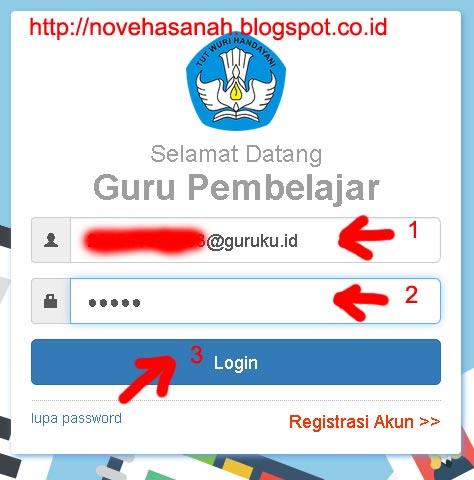 isikan username (email) dan password (kata kunci) dan klik login pada cara login guru pembelajar online (GPO)