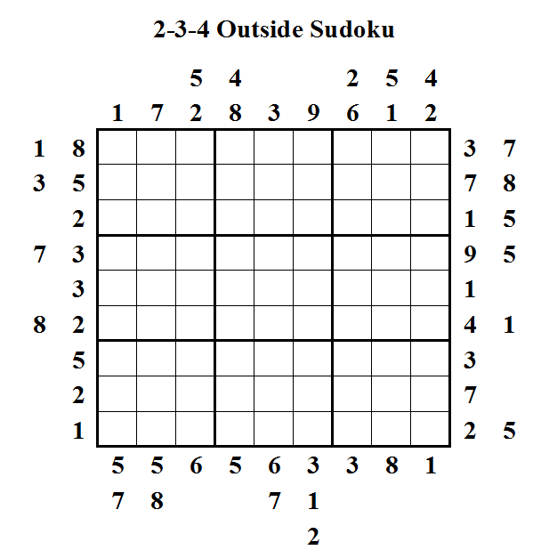 2-3-4 Outside Sudoku (Daily Sudoku League #9)