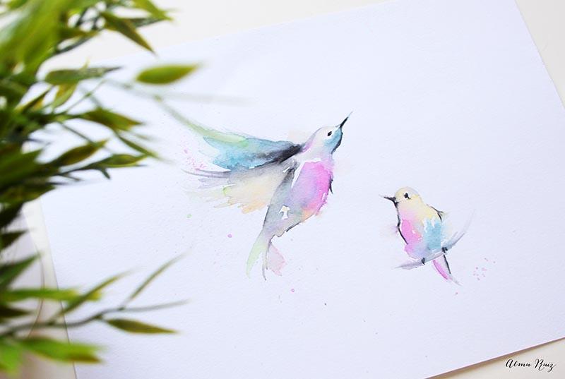 Ilustración de pájaros pintados con acuarela