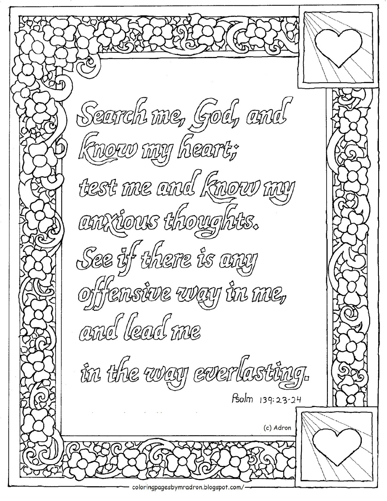 Coloring Pages For Kids By Mr Adron Printable Psalm 139 23 24 Coloring Page Search Me God