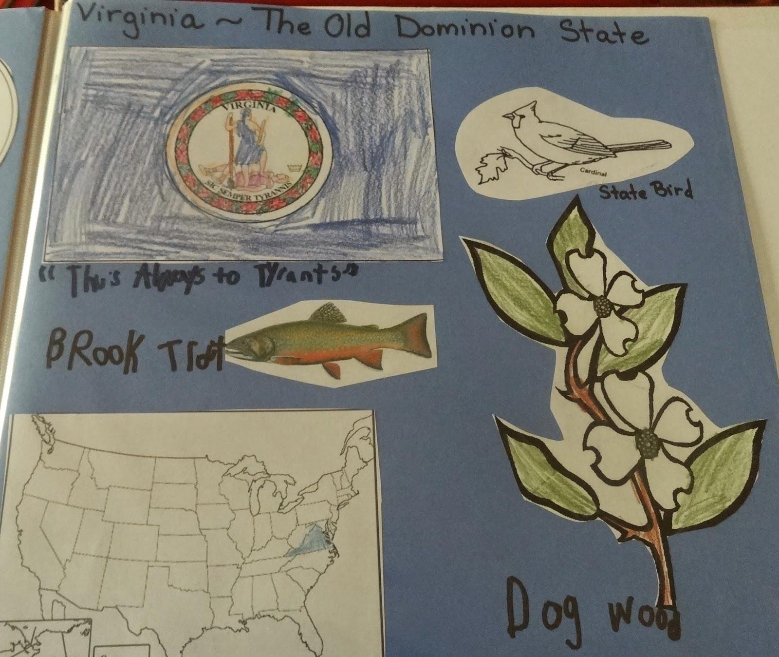 Mountain Of Grace Homeschooling Our State Scrapbook Vriginia