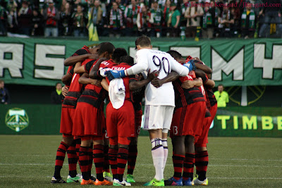 Timbers, Portland Timbers, MLS, Major League Soccer, team huddle, Providence Park