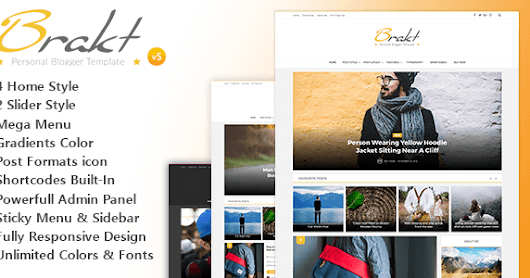 Brakt v5.0 Themeforest Responsive Personal Blogger Template Free Download