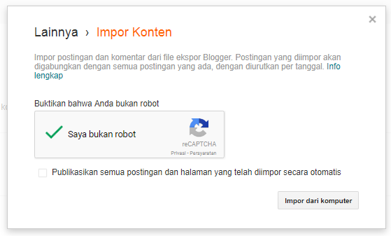cara import artikel blog di blogspot
