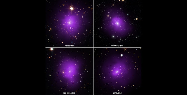 These four galaxy clusters were part of a large survey of over 300 clusters used to investigate dark energy, the mysterious energy that is currently driving the accelerating expansion of the Universe. In these composite images, X-rays from NASA's Chandra X-ray Observatory (purple) have been combined with optical light from the Hubble Space Telescope and Sloan Digital Sky Survey (red, green, and blue). Credit: X-ray: NASA/CXC/Univ. of Alabama/A. Morandi et al; Optical: SDSS, NASA/STScI