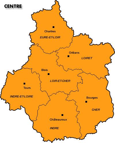 Carte du Centre Département Région   Carte France Département Région
