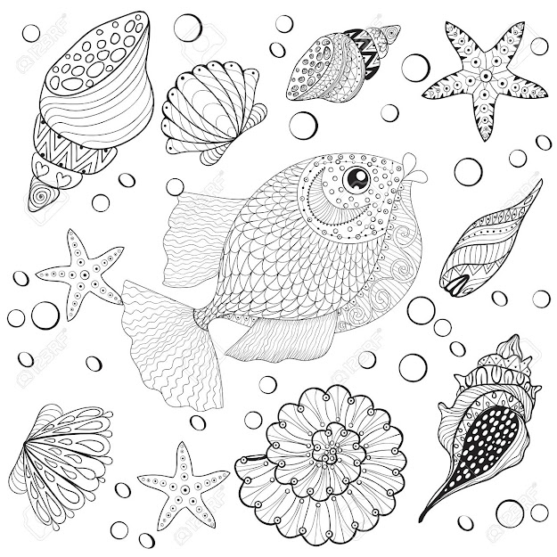 Hand Drawn Fish With Sea Shells For Adult Anti Stress Coloring Pages Post  Card