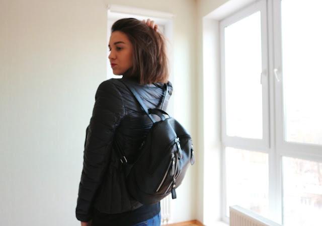 Zaful Faux Leather Zipper Backpack