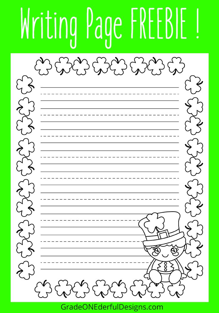 St. Patrick's Day Goodies Galore! Grab this free sheet of writing paper with a cute little leprechaun. It's perfect for early primary students. #stpatricksday #stpatrickswritingpaper #stpatricksforkids #gradeonederful