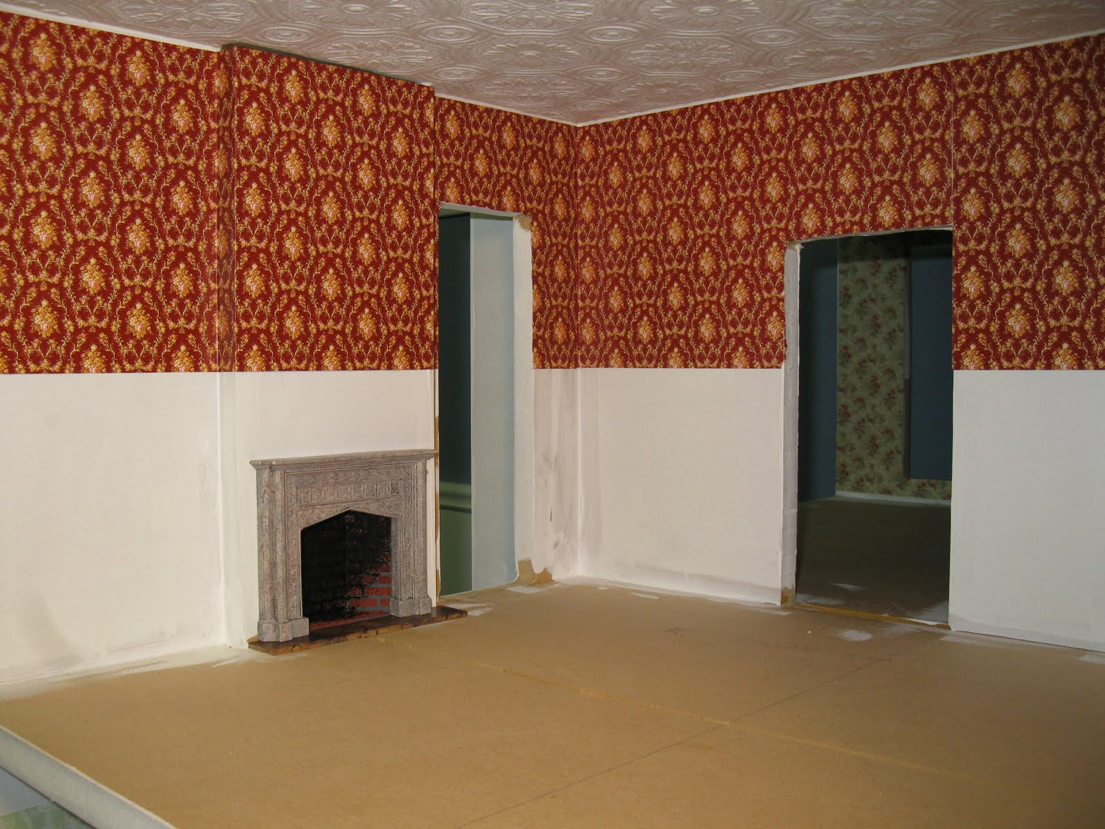 wallpaper for kitchen walls table late victorian english manor dollhouse 1 12 miniature