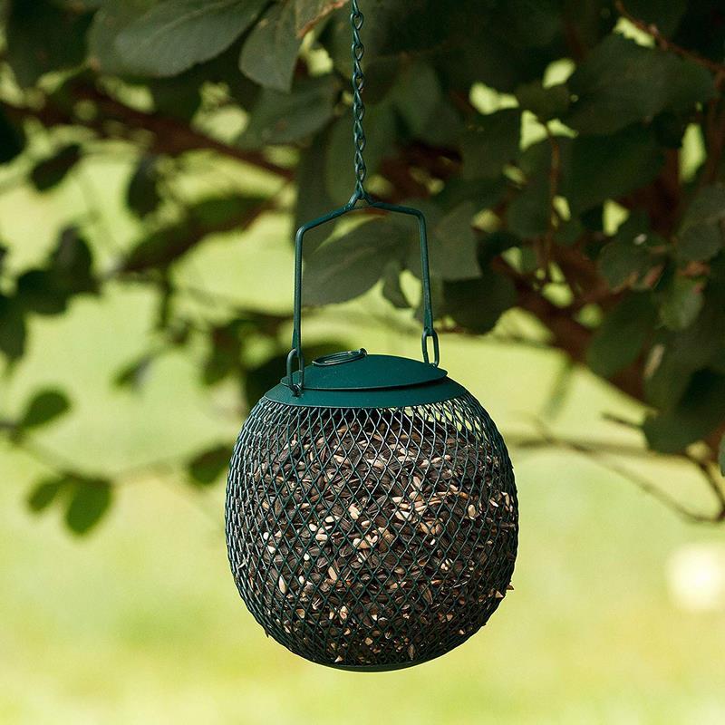 Comedero para pájaros en Malla Metalica Resistente - Alimentador Bola Verde Decorativa - Dispensador de Comida con Colgador para su jardín
