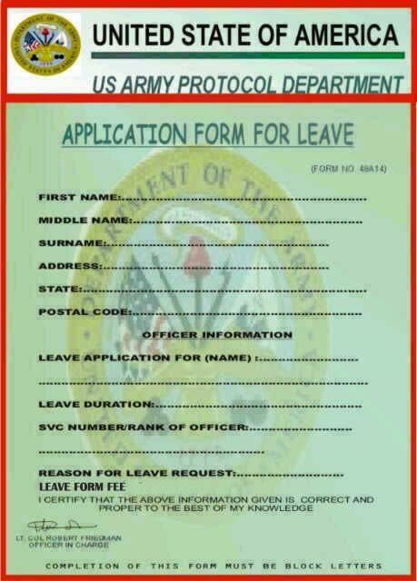 USARMY MILITARY DEPARTMENT: LEAVE REQUEST APPLICATION INSTRUCTION