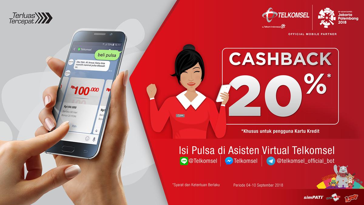 Telkomsel - Promo Cashback 20% Isi Pulsa Via Asisten Virtual (s.d 10 Sept 2018)