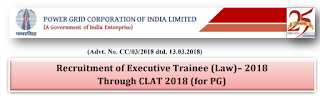 PGCIL Executive Trainee (Law) Recruitment Notification 2018