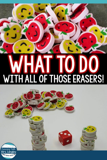 Mini eraser activities don't have to be complicated! Use this ideas for math centers, fine motor bins, or your small group activities. Perfect for preschool or kindergarten students. Students will have fun counting and manipulating the erasers. #kindergarten #minierasers #mathcenters