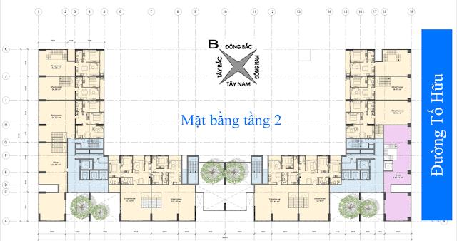 mặt bằng tầng 2 chung cư anland nam cường