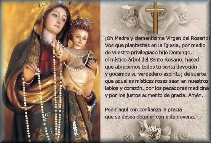 Resultado de imagen para oraciones virgen del rosario