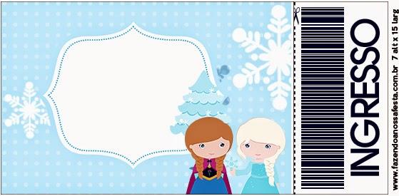 Tarjeta con forma de Ticket de Frozen Niñas para Navidad Azul.