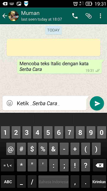 Cara Pesan Teks Italic Whatsapp
