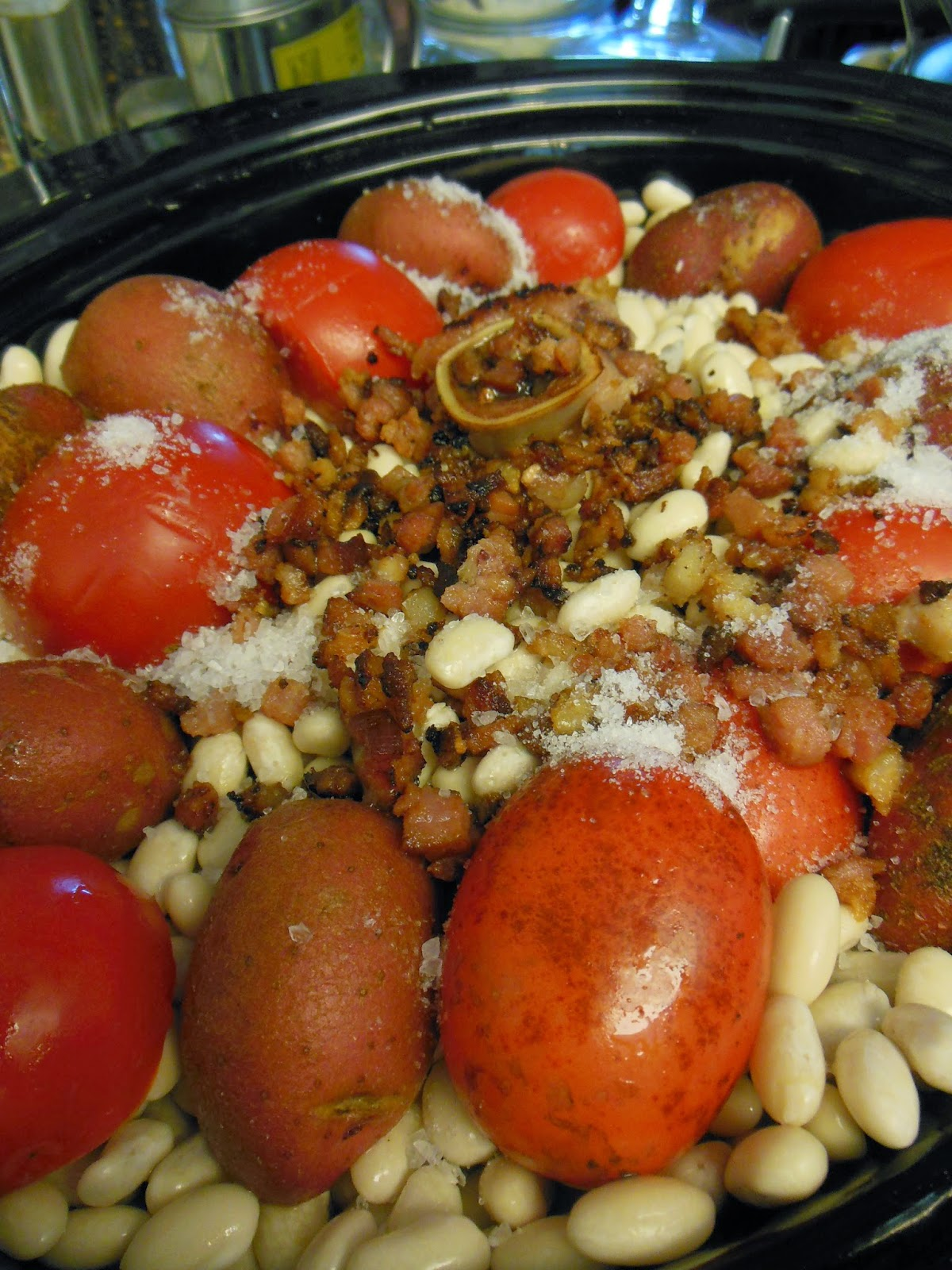 Every part of this dish comes together to create a delicious pot of beans.