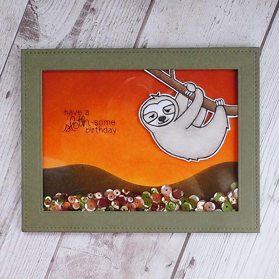Sloth birthday card by Ka Slagoski! In Slow Motion Stamp set by Newton's Nook Designs #newtonsnook