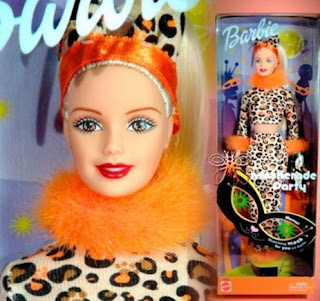 2002 Maskerade Party Barbie doll leopard print pantsuit orange fur mask