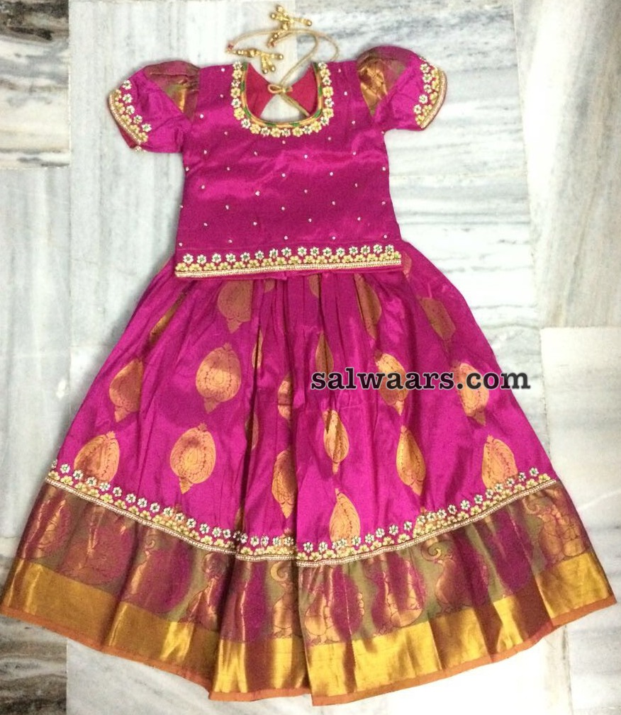 ca77e89a6 PInk Pattu Lehenga for Kids - Indian Dresses