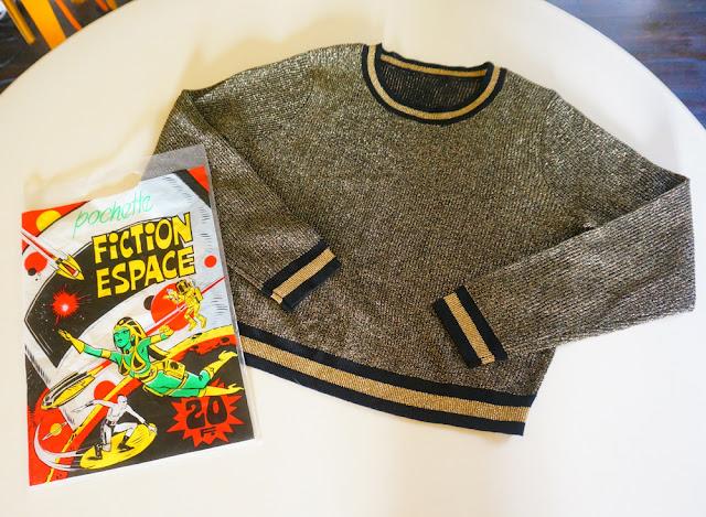 golden lurex sweater jumper plastic bag magazine space age fiction 1980 1970 70s 80s