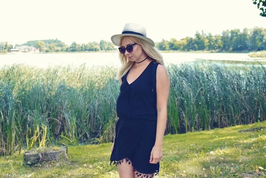 bonprix, jezioro, kapelusz, luckylook, moda, mokasyny, okulary, plecak, sukienka, szaleo, totalblack, totallook, czerń,